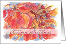 Autumn Greetings Leaves Berries Botanical Watercolor Illustration card