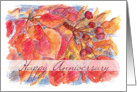 Happy Anniversary Autumn Leaves Berries Botanical Illustration card