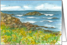 Thinking of You Rocky Coastline Watercolor Fine Art Painting card