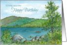 Happy Birthday Mountain Lake Kayaks Watercolor Painting card