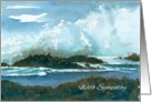 With Sympathy Ocean Waves Rocks Seascape Watercolor Art card