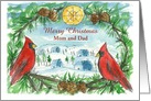 Merry Christmas Mom and Dad Custom Name Red Cardinal Birds card