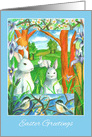Easter Greetings White Rabbit Chickadee Birds Watercolor card