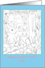 Happy Easter Custom Name Rabbits Chickadee Birds Coloring Book card