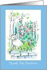 Thank You Custom Name Cat in the Garden Pen and Ink Sketch card