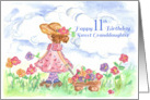 Happy 11th Birthday Sweet Granddaughter Young Girl Flower Wagon card