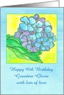 Happy 90th Birthday Blue Hydrangea Flower Custom Name card