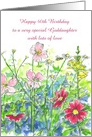 Happy 40th Birthday Goddaughter Watercolor Flowers card