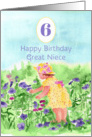 Happy 6th Birthday Great Niece Little Garden Girl Watercolor card