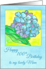 Happy 100th Birthday Mum Hydrangea Flower Watercolor card