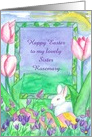 Happy Easter Sister White Rabbit Painted Eggs Custom Name card