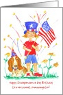 Happy 4th of July Birthday Granddaughter Flag Hound Dog Custom card
