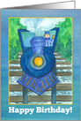 Happy Birthday Blue Steam Train Watercolor Illustration card