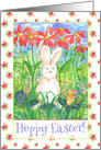 Hoppy Easter White Rabbit Mouse Snail Watercolor Flowers card