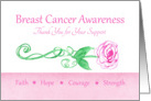 Breast Cancer Awareness Thank You For Your Support card