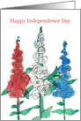 Happy Fourth of July Red White Blue Flowers card