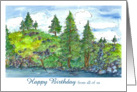 Happy Birthday From All Of Us Mountain Lake Landscape card