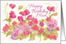Happy Birthday Mom Pink Sweet Pea Pansy Flower Card