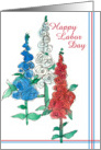 Happy Labor Day Red White Blue Wildflower Watercolor Art card