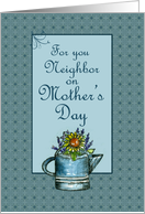 Happy Mother's Day Neighbor Flower Bouquet Watercolor Art card