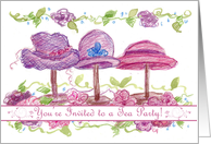 Tea Party Invitation Pink Victorian Hats Flowers Art Drawing card