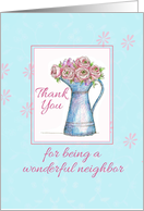 Thank You Neighbor Rose Bouquet Vintage Pitcher Illustration card