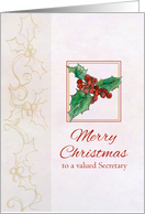 Merry Christmas Valued Secretary Holly Botanical Watercolor Art card