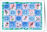 Blue Flower Quilt Happy Birthday Watercolor Blue Floral card