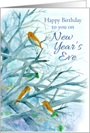 Happy Birthday on New Year's Eve Bluebirds Winter Trees Watercolor card