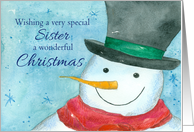 Merry Christmas Sister Snowman Snowflakes Watercolor card