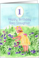 Happy First Birthday Step Daughter Flower Garden Watercolor card