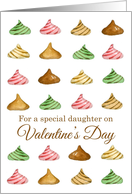 Happy Valentine's Day Daughter Candy Watercolor Illustration card