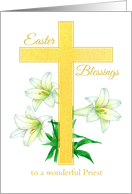 Priest Easter Blessings Cross White Lily Flower Drawing card