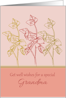 Get Well Wishes Special Grandma Green Leaves Drawing card
