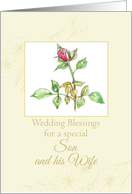 Wedding Congratulations Son and Wife Watercolor Art card