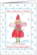 Merry Christmas Sweet Angel Great Granddaughter Blue Snowflakes card