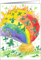 Happy St. Patrick Pot of Gold Rainbow Clover Watercolor card