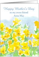 Happy Mother's Day Custom Name Card Yellow Pansies Watercolor card