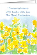 Congratulations Teacher of the Year Custom Name Yellow Pansies card