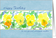 Happy Birthday Surrogate Mother Yellow Pansies Watercolor card