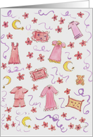 Girls Pajama Party Invitation Crescent Moon Teddy Bears card
