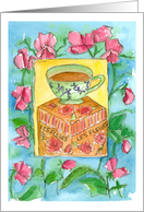 Let's Get Together For Tea Teacup Sweet Pea Flowers Watercolor card