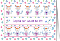 Young Girl Count To Ten Congratulations Customize Name card