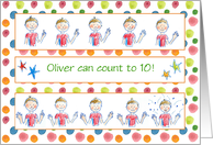 Kids Count To Ten Young Boy Congratulations Custom Name card