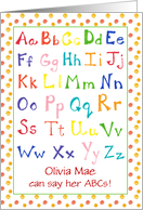 Child Congratulations Learning Alphabet Primary Colors Custom Name card