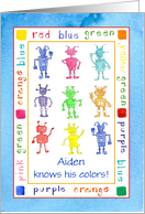 Child Congratulations Learning Colors Robots Custom Name card
