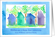 Home Anniversary Custom Name From Realtor Blue Houses card