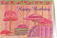 Red Hat Happy Birthday Vintage Hat Boxes card