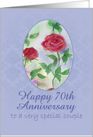 Happy 70th Anniversary Special Couple Red Roses Watercolor Art card