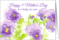 1st Mother's Day Purple Pansies Watercolor Painting card